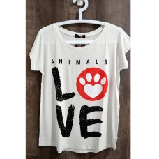 17335 - BLUSA FEM ANIMALS LOVE BRANCA P