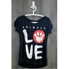 17344 - BLUSA FEM ANIMALS LOVE PRETA P